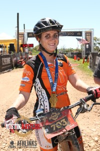 Kara after claiming the women's champion title at the 2015 Austin Rattler MTB